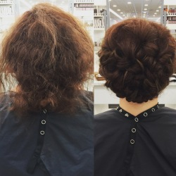 Before and after gorgeous updo for client with alopecia!