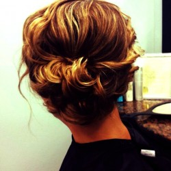 Wavy Natural Updo Side Bun