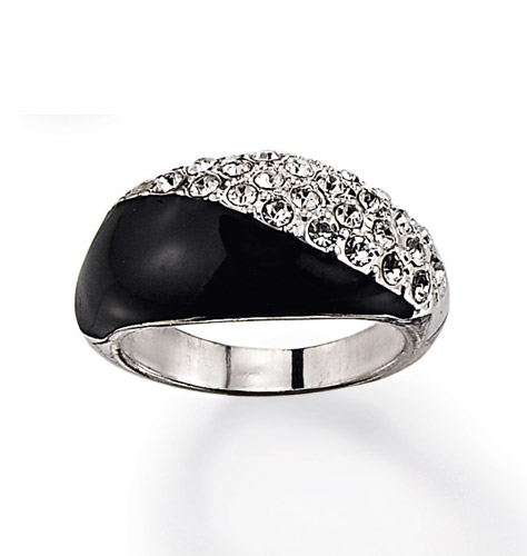 Classic Black Rhinestone Ring