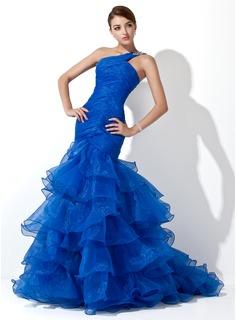Bright Blue Mermaid One Shoulder Gown Dress