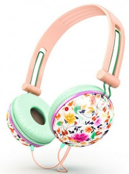 Trendy-Girly-Fashionable-Peach-Teal-Floral-Headphones