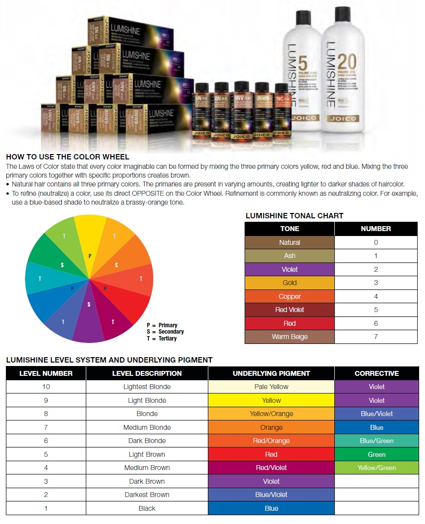 Joico Lumishine Color Swatch Chart
